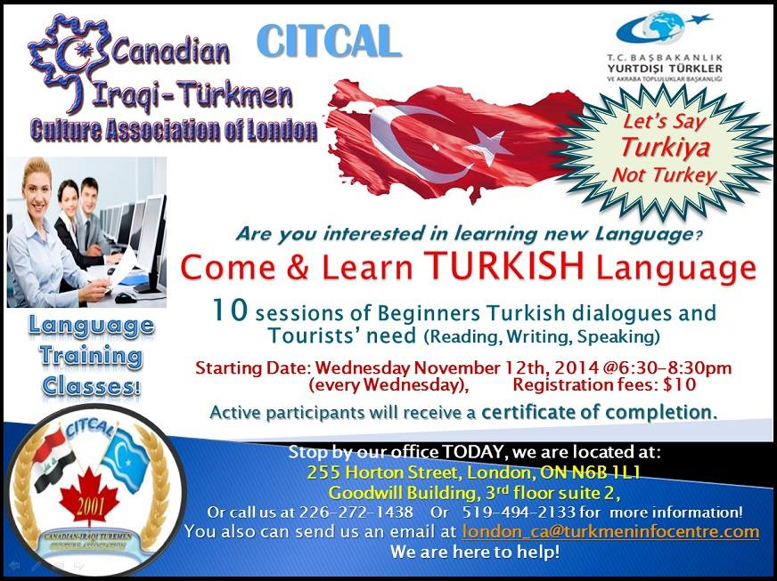 Come and Learn Turkish Language - Canadian Iraqi Turkmen Culture